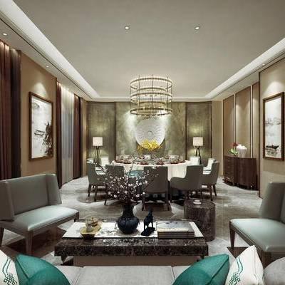 中式客餐厅, 多人沙发, 茶几, 桌子, 椅子, 吊灯, 落地灯, 边几, 花瓶, 边柜, 壁画, 中式