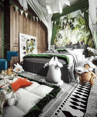 北欧简约, 儿童房, 卧室, 玩具, 床具组合