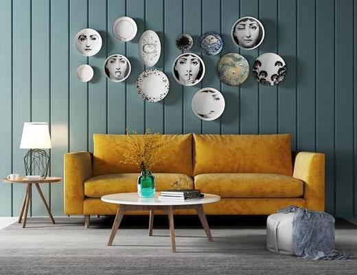 沙发组合, 壁画, 双人沙发, 茶几, 边几, 台灯, 沙发凳, 北欧