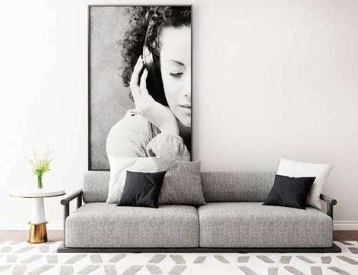 沙发组合, 双人沙发, 挂画, 圆几, 现代