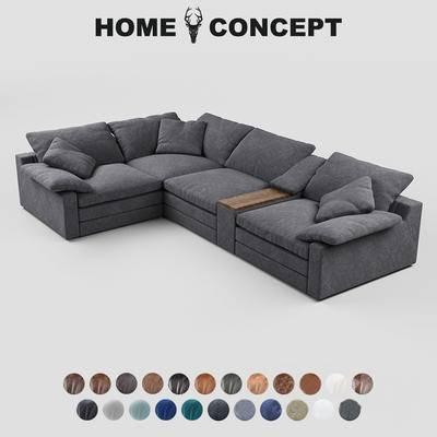 美式复古转角沙发, 美式转角沙发, 复古转角沙发, 转角沙发