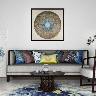 沙发组合, 椅子, 边几, 壁画, 中式