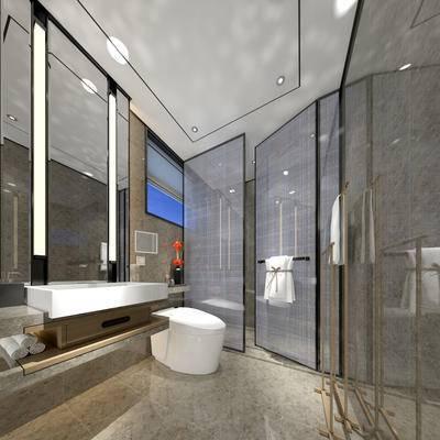 卫生间, 洗手台, 马桶, 淋浴间, 毛巾, 镜子, 现代