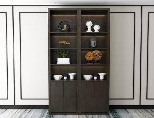 酒柜, 摆件组合, 新中式