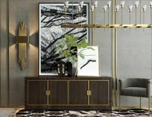 后现代, 柜子组合, 吊灯, 壁灯, 花瓶
