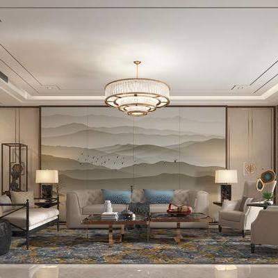 客厅, 多人沙发, 椅子, 边几, 茶几, 台灯, 吊灯, 置物架, 壁画, 凳子, 地毯, 新中式