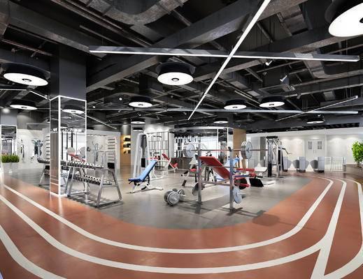 现代, 健身房, 健身器材, 1000套空间酷赠送模型