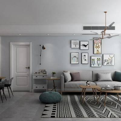 现代客餐厅, 现代, 现代客厅, 现代餐厅, 装饰画, 现代吊灯, 布艺沙发, 茶几, 椅子, 电视柜, 餐桌椅, 植物, 门