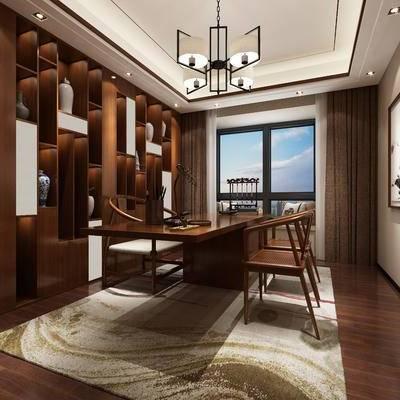 新中式书房, 桌子, 椅子, 壁画, 置物柜, 地毯, 新中式