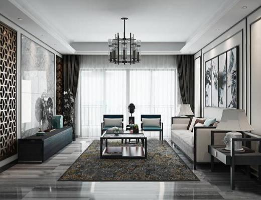 新中式客厅, 边几, 多人沙发, 茶几, 壁画, 台灯, 吊灯, 电视柜, 椅子, 新中式