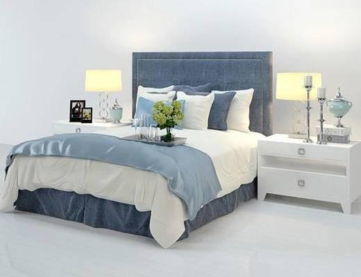 欧式简约, 床, 双人床, 床具, 台灯