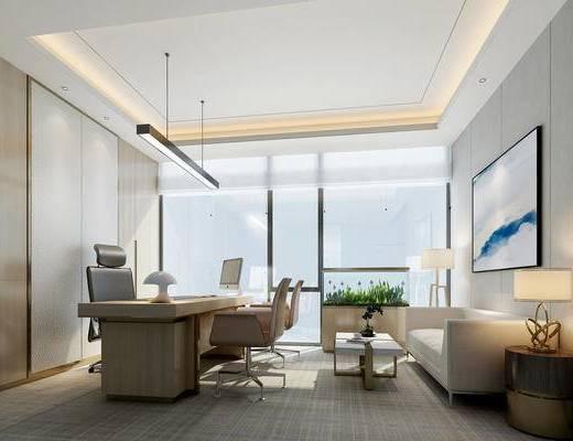 新中式, 办公室, 经理室, 沙发, 茶几, 边几, 台灯, 挂画, 植物, 办公桌, 办公椅, 吊灯, 电脑, 1000套空间酷赠送模型