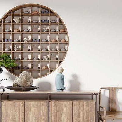 新中式, 边柜, 椅子, 植物盆栽, 陈设品, 下得乐3888套模型合辑