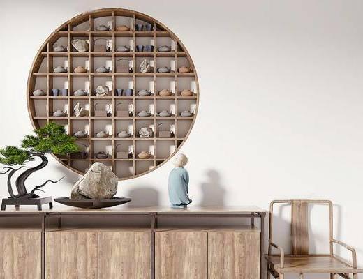新中式, 边柜, 椅子, 植物盆栽, 陈设品