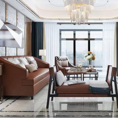 后现代, 客厅, 沙发茶几组合, 吊灯, 陈设品组合