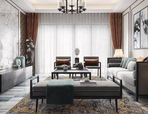 新中式, 客厅, 沙发, 茶几, 吊灯, 电视柜, 挂画, 装饰画, 台灯, 摆件, 花瓶