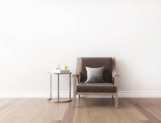 桌椅组合, 圆几, 单人沙发, 新中式