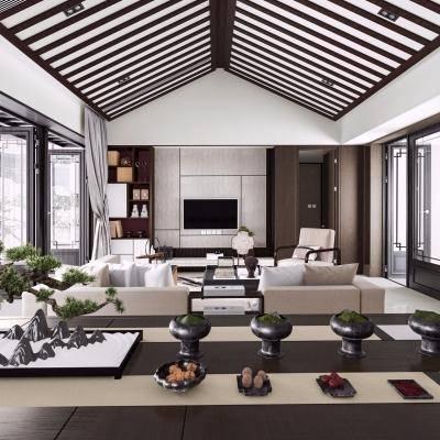 新中式客厅, 新中式沙发茶几组合, 桌子, 储物柜, 餐具, 盆栽, 新中式
