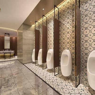 现代卫生间, 小便器, 洗手台, 镜子, 现代