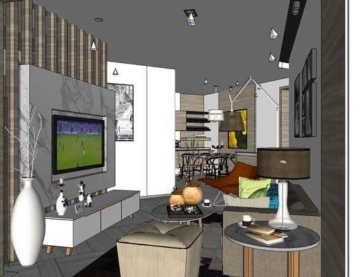 家装全套, 现代客厅, 沙发组合