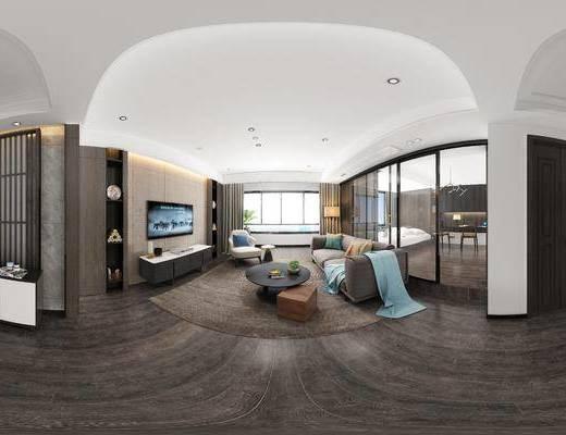 现代客餐厅, 多人沙发, 茶几, 电视柜, 桌子, 椅子, 落地灯, 边柜, 现代