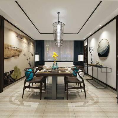 新中式, 桌椅组合, 吊灯, 落地灯, 墙饰, 餐厅, 餐桌