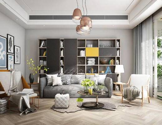 北欧客厅, 置物柜, 多人沙发, 茶几, 壁画, 椅子, 边几, 台灯, 吊灯, 北欧