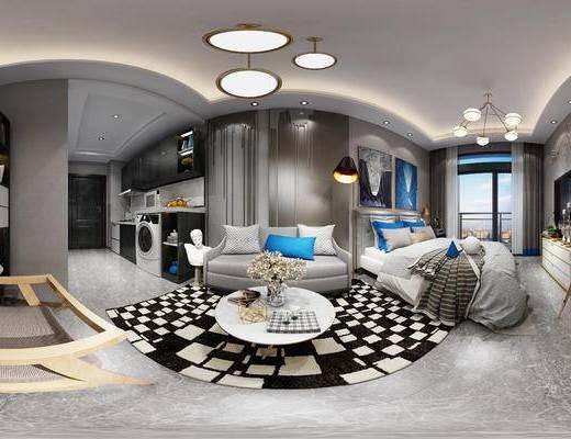 现代卧室, 双人床, 电视柜, 茶几, 吊灯, 壁画, 置物柜, 双人沙发, 橱柜, 现代