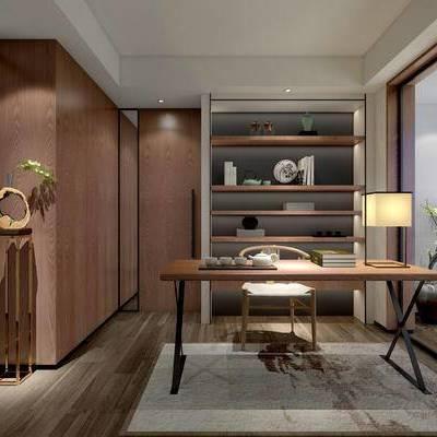 中式书房, 桌子, 椅子, 台灯, 边几, 置物柜, 地毯, 中式