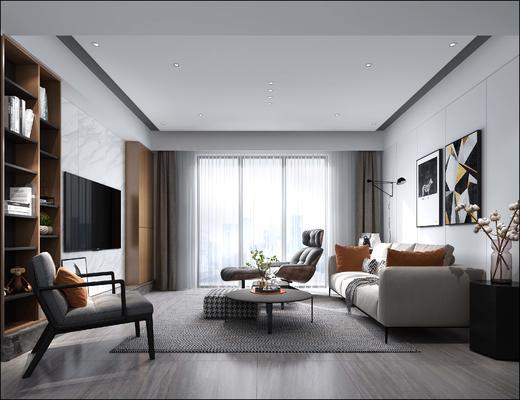 现代简约, 客厅, 沙发茶几组合, 沙发椅, 电视