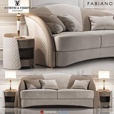 沙发组合, 多人沙发, 边柜, 台灯, 现代