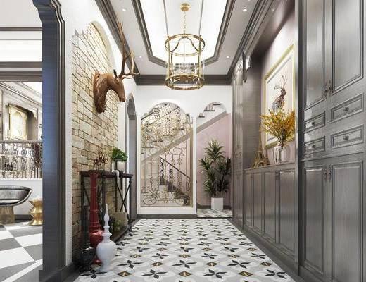美式玄关走廊, 吊灯, 壁画, 边柜, 边几, 美式