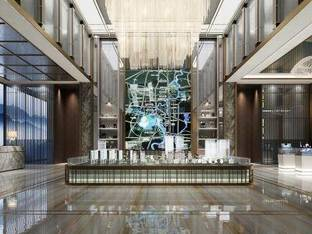 新中式售楼处大厅3D模型