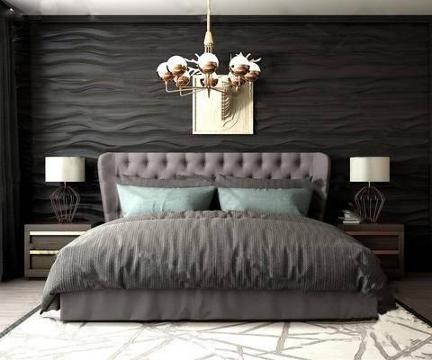 现代简约, 床具组合, 吊灯, 台灯