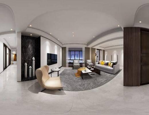 现代简约客厅, 多人沙发, 茶几, 休闲椅, 边几, 壁画, 桌椅组合, 吊灯, 沙发单椅, 现代