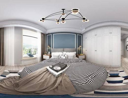 北欧简约卧室, 床, 吊灯, 台灯, 床头柜, 飘窗, 壁画, 电视柜, 落地灯, 花瓶, 地毯, 北欧简约