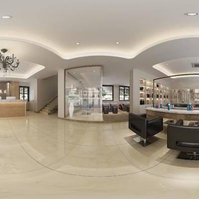 现代理发店, 前台, 桌椅组合, 单椅, 柜台, 储物柜, 镜子, 现代
