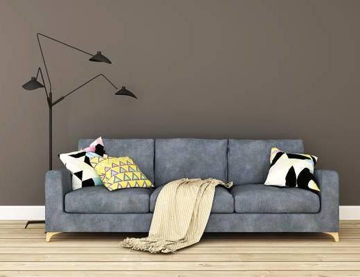沙发组合, 落地灯, 多人沙发, 北欧