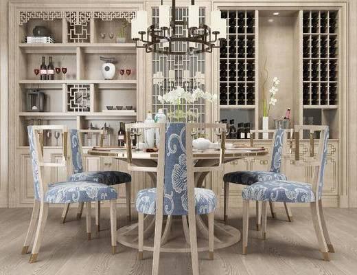 桌椅组合, 桌子, 椅子, 吊灯, 置物柜, 中式