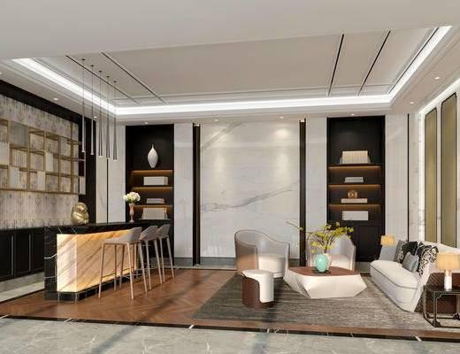 新中式会客室, 多人沙发, 茶几, 置物柜, 吧台, 吧椅, 边几, 花瓶, 椅子, 地毯, 新中式