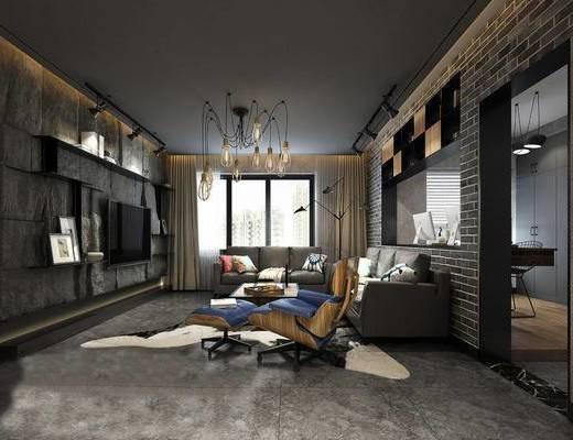 工业风客厅, 多人沙发, 茶几, 椅子, 沙发脚踏, 置物架, 吊灯, 置物柜, 工业风