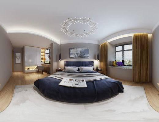 现代简约卧室, 双人床, 边几, 吊灯, 壁画, 储物柜, 桌椅组合, 台灯, 盆栽, 现代