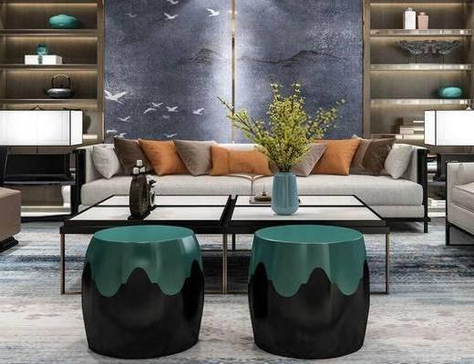 新中式, 客厅, 沙发茶几组合, 置物架, 花瓶