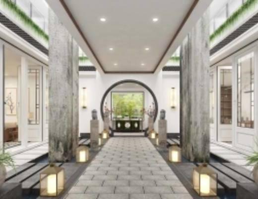1000套空间酷赠送模型, 新中式, 玄关过道, 落地灯, 盆栽