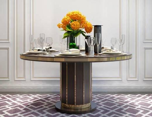 餐桌, 花瓶, 杯子, 简欧
