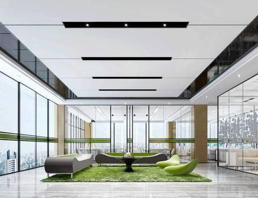 现代办公室, 多人沙发, 茶几, 椅子, 桌子, 电脑, 现代