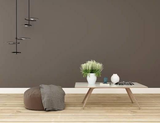 沙发组合, 脚踏沙发, 茶几, 吊灯, 现代