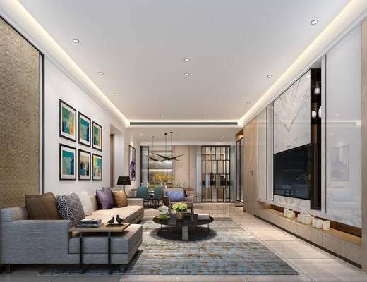 现代客厅, 壁画, 多人沙发, 茶几, 椅子, 桌子, 电视柜, 吊灯, 台灯, 现代