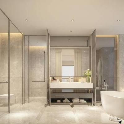 现代卫浴, 洗手台, 马桶, 浴缸, 淋浴间, 现代