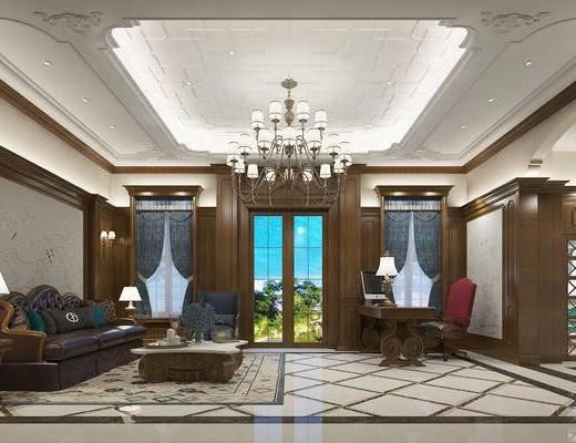 美式客餐厅, 吊灯, 多人沙发, 茶几, 椅子, 边几, 台灯, 桌子, 美式